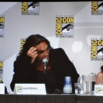 Peter Dinklage, Jason Momoa and Emilia Clarke on the Game of Thrones panel, San Diego Comic-Con July 21 2011.
